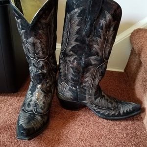 CORRAL BLACK & GOLD LEATHER WESTERN BOOTS